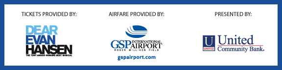 Contest Sponsor logos: Evan Hansen, GSP Airport, United Community Bank