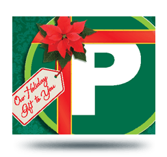 Parking P logo with a red ribbon around it, wrapped like a gift.