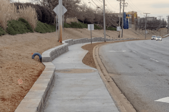 photo of newly constructed sidewalk along Woodruff Road