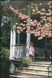 Girl on house porch