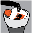 Step 4 - When the bottle is 0.75 full, secure the cap and throw the bottle into the trash.