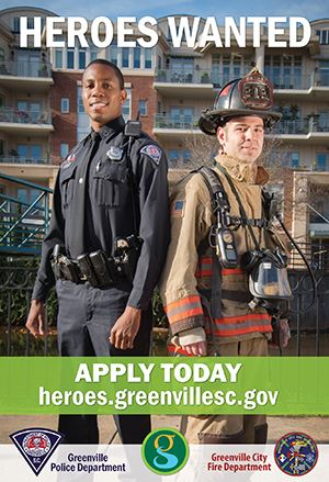 Heroes Wanted Poster showing a police officer and firefighter standing side by side